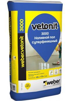 Ветонит 3000 Наливной пол финишный (20кг) (54шт/под) на цементной основе